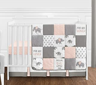 Sweet Jojo Designs Blush Pink, Grey and White Watercolor Elephant Safari Baby Girl Crib Bedding Set Without Bumper - 4 Pieces