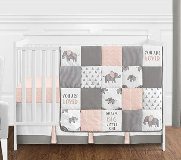 Sweet Jojo Designs Blush Pink Grey And White Watercolor Elephant Safari Baby Girl Crib Bedding Set Without Bumper 4 Pieces