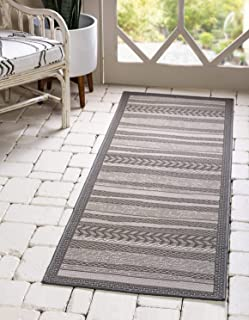 Unique Loom Outdoor Border Collection Striped Moroccan Transitional Indoor and Outdoor Flatweave Gray Runner Rug (2' 2 x 6' 0)