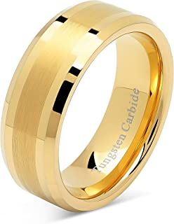 8mm Men's Tungsten Carbide Ring Wedding Band 14k Gold Plated Jewelry Bridal Size 8-16