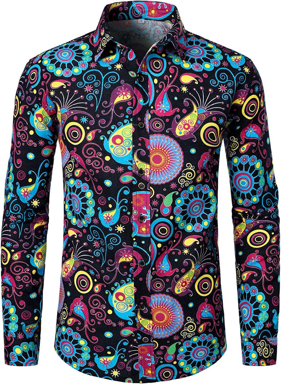 1960s Mens Shirts | 60s Mod Shirts, Hippie Shirts LucMatton Mens Linen Stylish Traditional Pattern Printed Long Sleeve Button up Shirt  AT vintagedancer.com