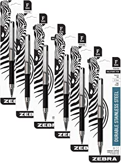 Zebra F-301 Compact Ballpoint Stainless Steel Capped Pen, Fine Point, 0.7mm, Black Ink, 1-Count, Pack of 6