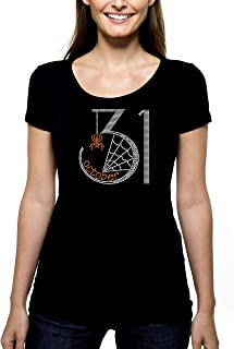 October 31 Halloween RHINESTONE T-Shirt Shirt Tee S M L XL 2XL - Spider Web Spooky Holiday Bling Sparkle Costume Party Fun Happy Trick Treat - Pick Shirt Style - Scoop Neck V-Neck Crew Neck