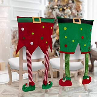 Valery Madelyn 2 Pack Delightful Elf Christmas Chair Covers, Chair Back Covers for Dining or Kitchen Decorations