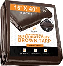 15' x 40' Super Heavy Duty 16 Mil Brown Poly Tarp Cover - Thick Waterproof, UV Resistant, Rot, Rip and Tear Proof Tarpaulin with Grommets and Reinforced Edges - by Xpose Safety