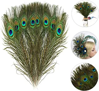 Mwoot 15pcs Natural Peacock Eye Feathers, Screen Green Tail Eye Feathers for DIY Craft,Costume,Mask,Wedding Holiday Party Decoration 11.02-12.6inch (28-32CM)