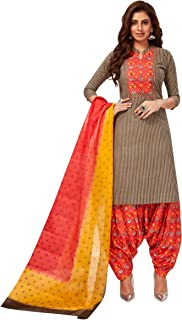 Jevi Prints Women's Cotton Printed Straight Stitched Salwar Suit Set (SUIT_SP-4652_Brown & Red)
