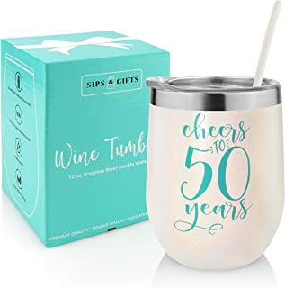 50th Birthday Wine Gifts For Women - Cheers to 50 Years -Anniversary Presents For Him and Her- Gifts Under 25 Dollars- Stainless Steel Insulated Travel Wine Tumbler with Lid And Straw For Adults