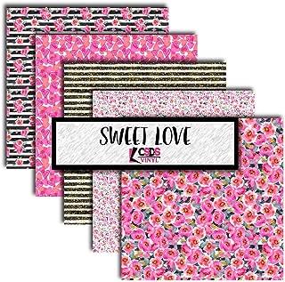 Sweet Love Black Floral Vinyl Bundle, Striped Floral Vinyl, Floral Printed Vinyl, Adhesive Vinyl, Floral Adhesive Vinyl (Adhesive Vinyl)
