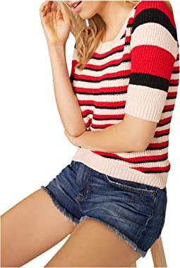 We Found Love Mixed Tape Yarn Stripe Short Sleeve Sweater