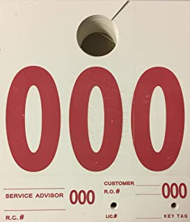 RL-78 Auto Service Dispatch Numbers Mirror Tags 3-Digit (White) 1000/box(V4)