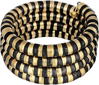 Polinter-Brass Metal Stacked Snake Coil Wrap Around Bracelet