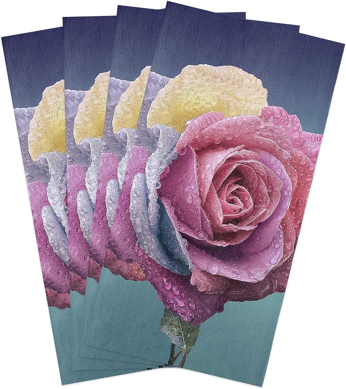 Manufacturer direct delivery Kitchen Towels Set Rose Blossom Towel Ranking TOP6 Flower Romantic Dish Flora