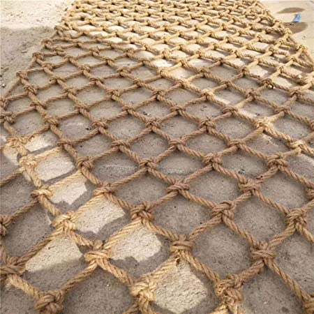 YINUO Gartennetz 1x1m Wandbehang Beige-10 mm alterungsbest/ändig Kindergarten Deko-Netz anpassbar Trennnetz zum Aufh/ängen handgewebt Hanfseil Kleidungsnetz Seilnetz