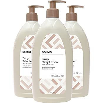 Amazon Brand - Solimo Daily Baby Lotion with Colloidal Oatmeal, Pediatrician Tested, 18 Fluid Ounce (Pack of 3)