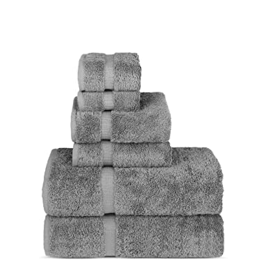 Chakir Turkish Linens Luxury Spa and Hotel Quality Premium Turkish Cotton 6-Piece Towel Set (2 x Bath Towels, 2 x Hand Towels, 2 x Washcloths, Gray)