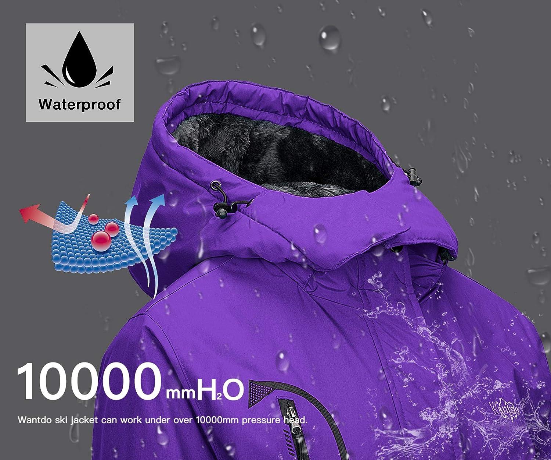 Wantdo Damen Berg Ski Jacke Warmer Winter Fleece Mantel Wasserdichter Atmungsaktive Regenmantel Outdoor Kapuzen Windbreaker Jacken