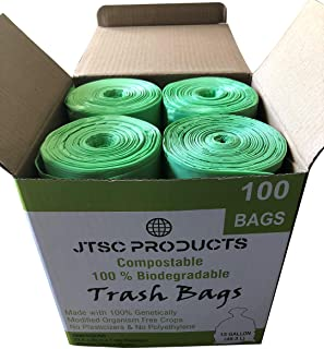Compostable Trash Bags 100% Biodegradable Trash Bags Kitchen Trash Bags - 13 Gallon ASTM D6400 Certified by JTSC Products - 29.5in deep, 100 Count, Extra Heavy Duty 1.0 mil Thick, Organic Waste Bag