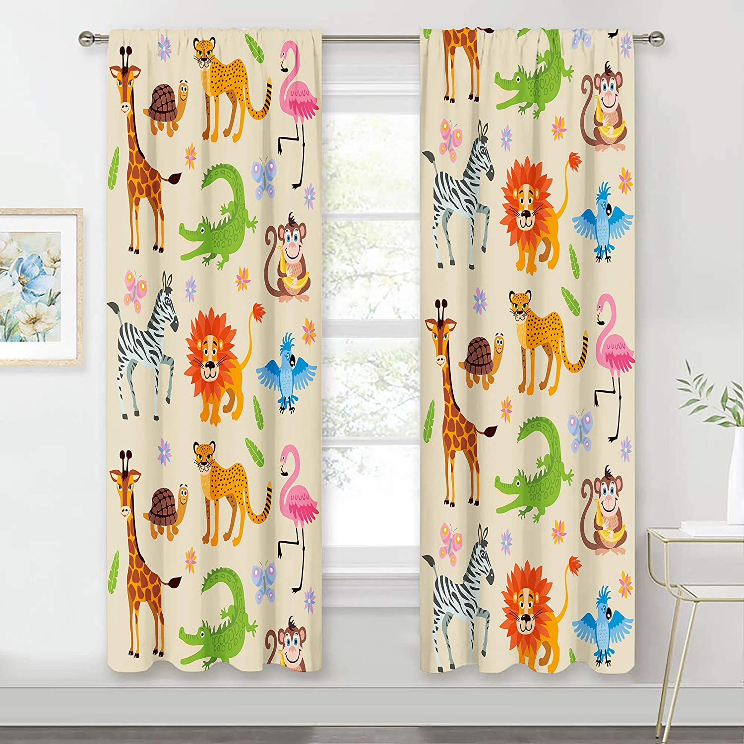 MESHELLY Baby Animal Print Store Los Angeles Mall Curtains 42 W 63 x Inch Rod Pock H