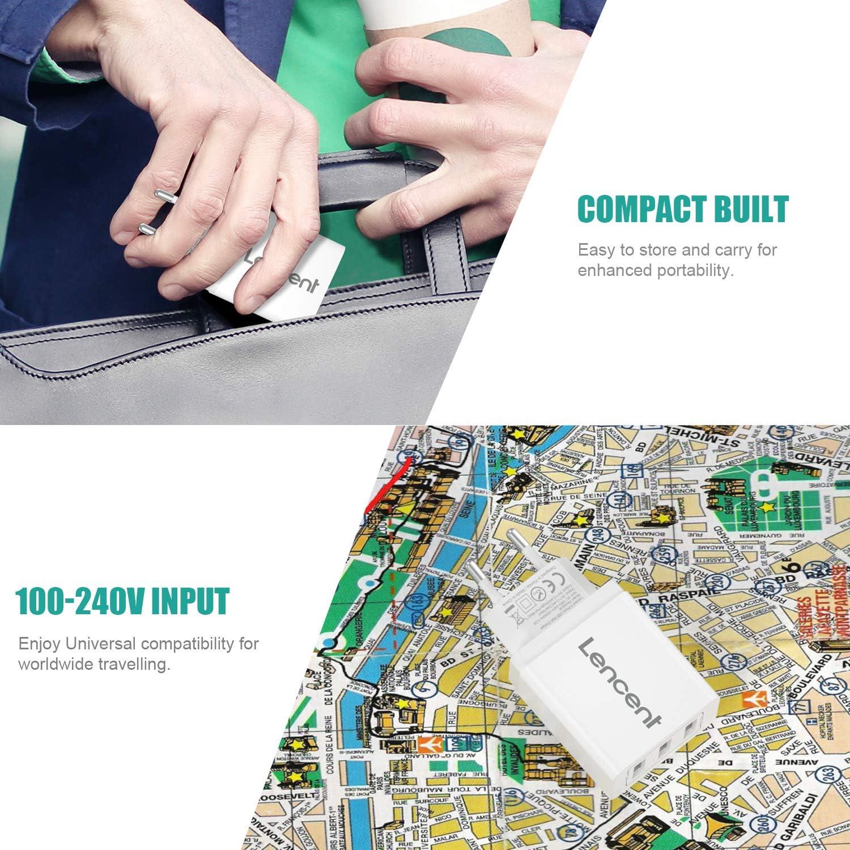 LENCENT Super Carregador de Parede 4-Portas 3-Portas (17W / 3,4A), Carregador Soquete USB com Tecnologia Auto-ID, Com Adaptador Universal Compatível com Smartphones e Tablets