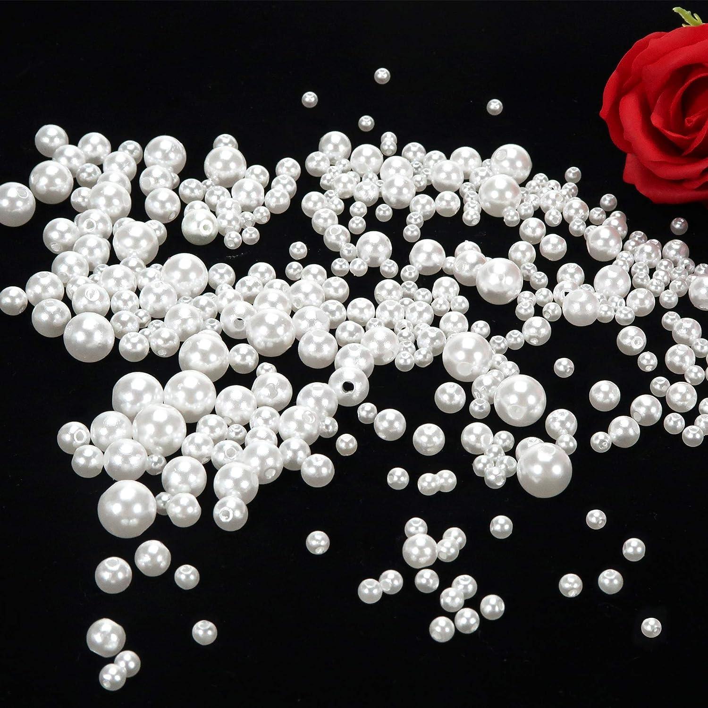 TOAOB 370 Pi/èces Perles de Plastique Rondes Beige Enfilage Facile 5mm 6mm 8mm 10mm pour Fabrication de Bijoux Artisanat