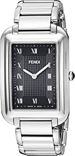 Classico Rectangular Swiss Made Classic Mens Thin Watch Stainless Steel Metal Band - Analog Quartz Black Face with Sapphire crystal Luxury Rectangle Dress Watches For Men F701011000