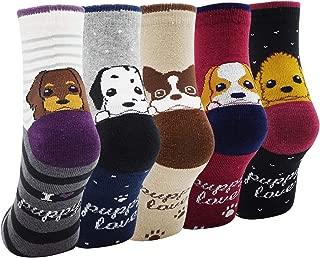 Lady's Girls 5 Pack of Fashion Cartoon Dog Animals Cute Socks, Multi Color