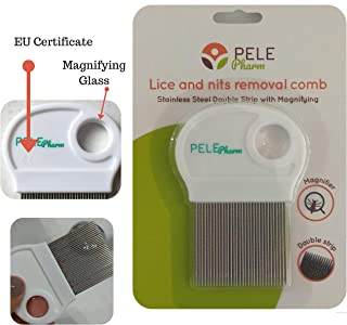 Pelepharm Nit Comb Free Terminator Lice Removal Metal for Kids Treatment | NOT Pull Out Hair | Stainless Steel Double Grooved Teeth | Best for Long/Short/Thick/Fine/Dry/Curls & Wet Hair Louse (1 Pack)