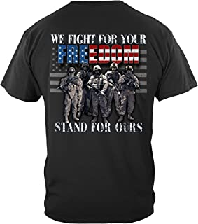 Military T-Shirt Stand for The Flag Fight for Our Freedom T-Shirt MM2378
