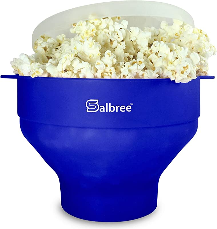 Original Salbree Microwave Popcorn Popper Silicone Popcorn Maker Collapsible Bowl BPA Free 15 Colors Available Blue
