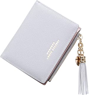 GEEAD Small Wallets for Women Solid Bifold Slim Credit Card Holder Zipper Coin Purse