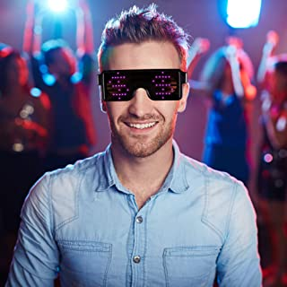 PINK LED Flash Glasses 8 Adjustable Patterns Luminous Flashing Shades Eye Wear For Birthday Party Bashes Corporate Events Raves Music Festivals Nightclubs Concerts Weddings Stage Dancing Group Fitness Great Kids Toy or Gift Fun and Simple