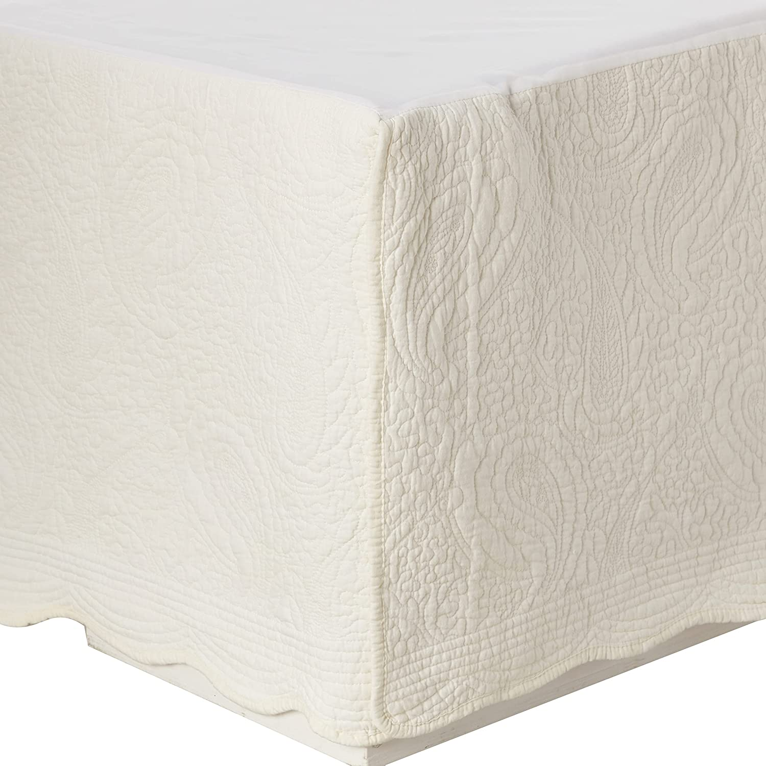 Greenland Home Fort Department store Worth Mall Paisley Quilted Ivory King Skirt Bed