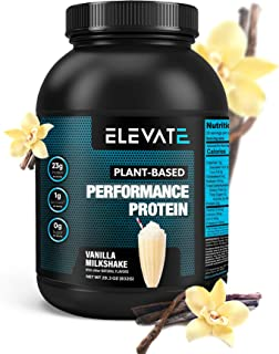 Plant Based Vegan Protein Powder with High BCAAs and Glutamine, Low Carb Protein Powder Vanilla Milkshake, Non GMO, NO Sug...