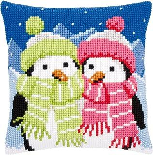 Vervaco Pinguine mit Schal Kreuzstichkissen/Stickkissen vorgedruckt, Baumwolle, Mehrfarbig, 40 x 40 x 0.3 cm
