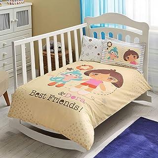 TAC Juego de funda de edredón para cuna de bebé, 4 piezas (100% algodón) (Dora Best Friends)