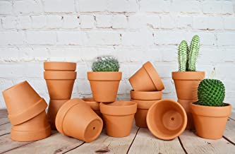 My Urban Crafts 16 Pcs Small Terra Cotta Pots 2.5 x 3 inch Mini Flower Clay Pots with Drainage Hole Ceramic Pottery Nursery Terracotta Planter for Succulent Cactus Plants, Wedding Bridal Party Favors
