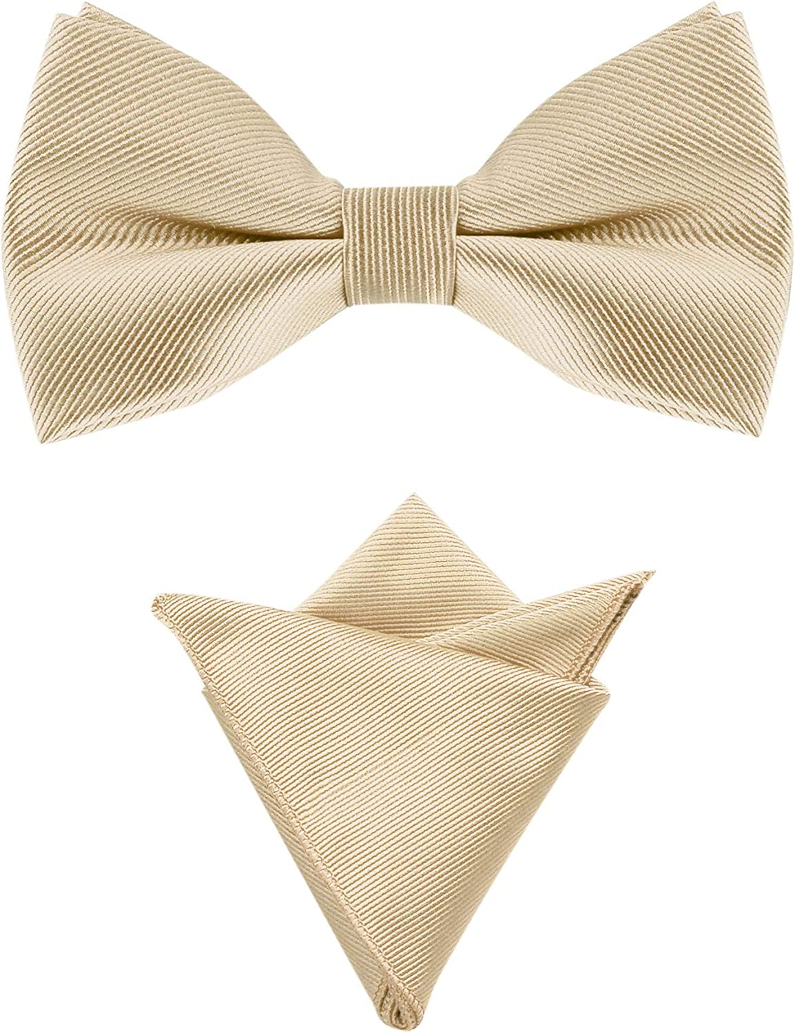Allegra K Men's Solid Color Pre-Tied Bow Tie with Matching Pocket Square Set for Wedding Party