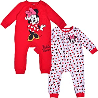 Disney Girl's 2 Pack Minnie Mouse Footed Coverall Bodysuit Onesie Set, Long Sleeve Bodysuit