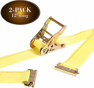 DC Cargo Mall 2Pk E Track Ratcheting Straps Cargo TieDowns, 2 x 12 Heavy Duty Yellow Polyester Tie-Down Straps, Strong Ratchet, ETrack Spring Fittings, Tie Down Motorcycle, Trailer Load (2)