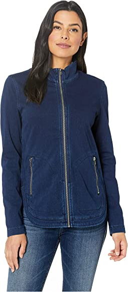Zip Front Curved Hem Boxy Jacket in Knit Denim