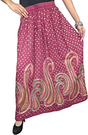 Mogul Interior Aurora Womens Long Skirts Maroon Sequin Work Paisley Print Boho Flare Festive Skirt