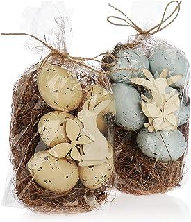 com-four® 10x Oeufs décoratifs pour Pâques - Décoration de Pâques avec Motif Naturel - Oeufs décoratifs de Pâques avec Pai...