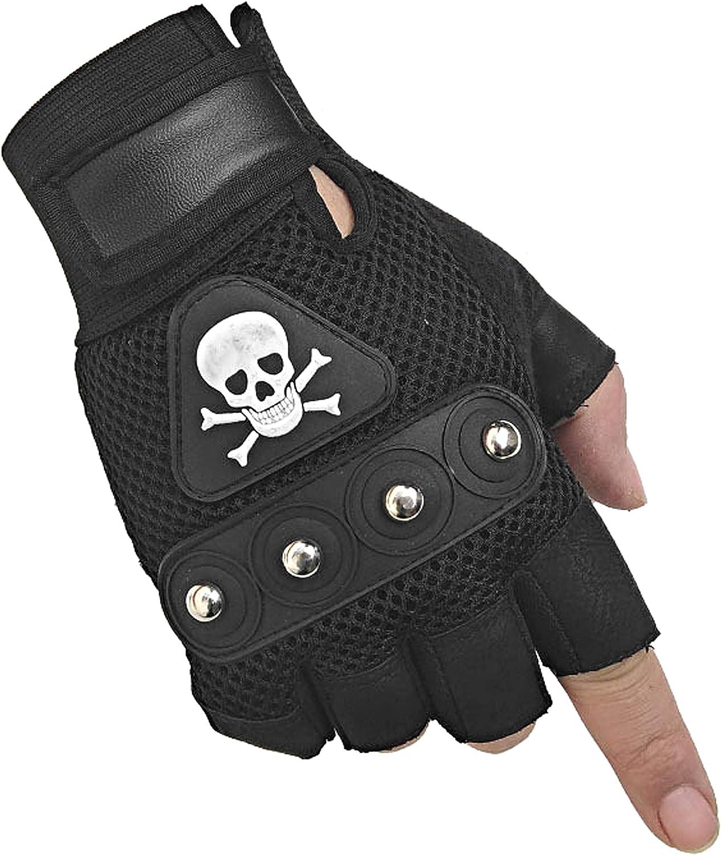 Men's Punk Rock Biker Gothic Skull Gloves Motorcycle Skeletal Rivet Cycling Driving Fingerless Mitten