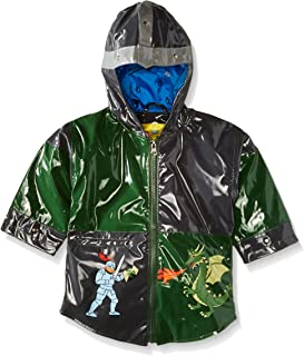 Kidorable Dragon Knight Grey/Green PU All-Weather Raincoat for Boys With Fun Knight's Helmet