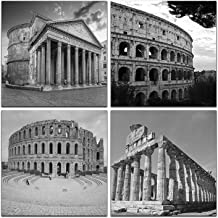 NAN Wind Modern 4 Panels Giclee Black and White Architectures Canvas Prints Rome..