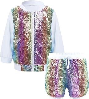kexx Top e Pantaloncini da Bambina T-Shirt a 2 Pezzi Manica Corta TIK Tok con Top Set da Palestra Allenamento da Corsa Tuta Ourtfit Estate Casual Abbigliamento Sportivo Pigiama Abbigliamento Yoga