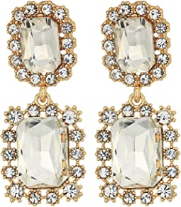 GUESS - Double Framed Stone Drop Earrings