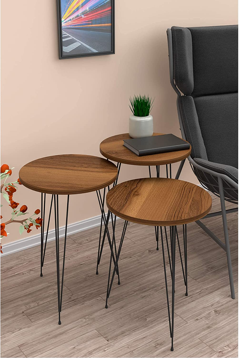Set of 3 Nesting End Tables - PAK Home Round Stacking Coffee Side Tables for Small Spaces, Nightstand Bedside Table with Metal Legs for Bedroom, Living Room, Home Office, Sturdy&Easy Assembly, Walnut