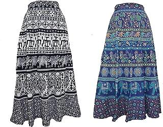 Krystle Women's omen's Cotton Combo of 2 Skirts (Multicolor_Free Size) Black-Blue